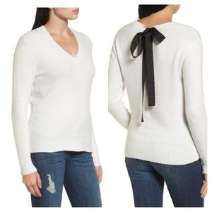 Halogen > White Tie Back Sweater With Black Ribbon